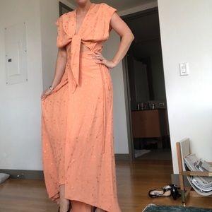 Peach wrap Reformation dress